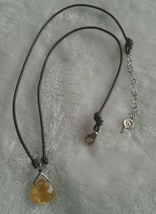 sterling citrine  pendant leather cord necklace